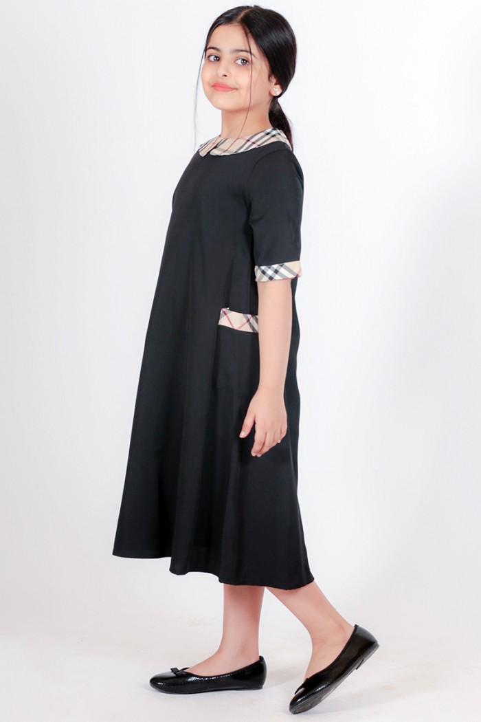 فستان صيفي جديد 2021 اسود كاروهات